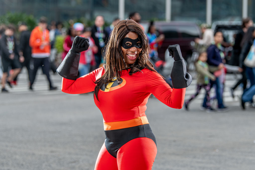 a woman dressed in an elastigirl costume