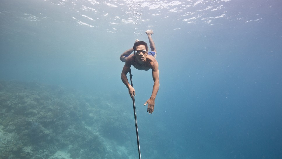 Will Millard swims with a spear during the show Hunters of the South Seas.