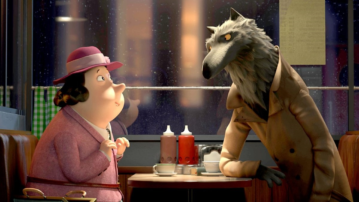 A screenshot from Revolting Rhymes shows a woman talking to a wolf at a restaurant.