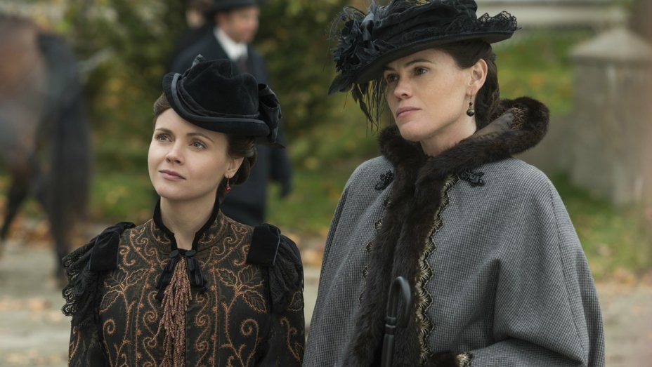 A still shot shows two characters from The Lizzie Borden Chronicles.