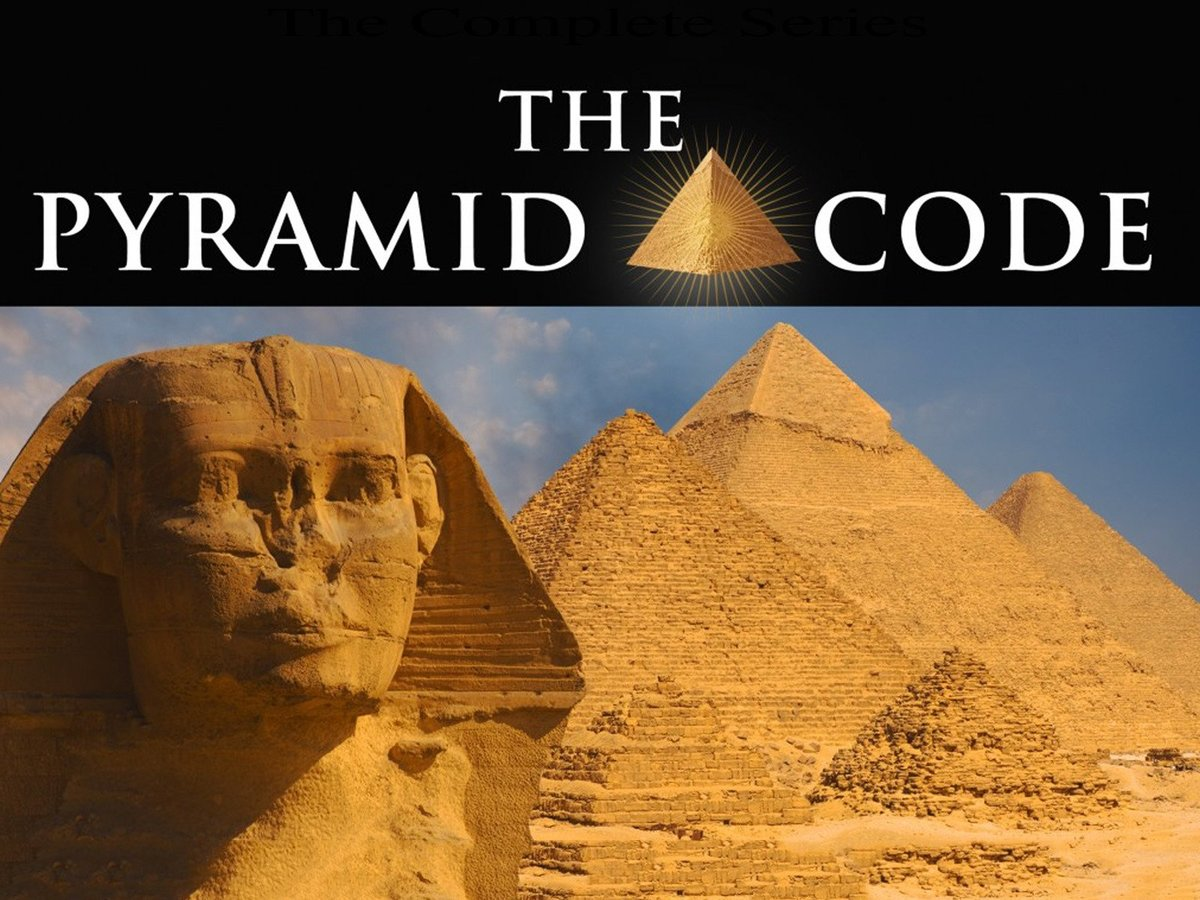 A title screen for The Pyramid Code shows the sphinx and Egyptian pyramids.