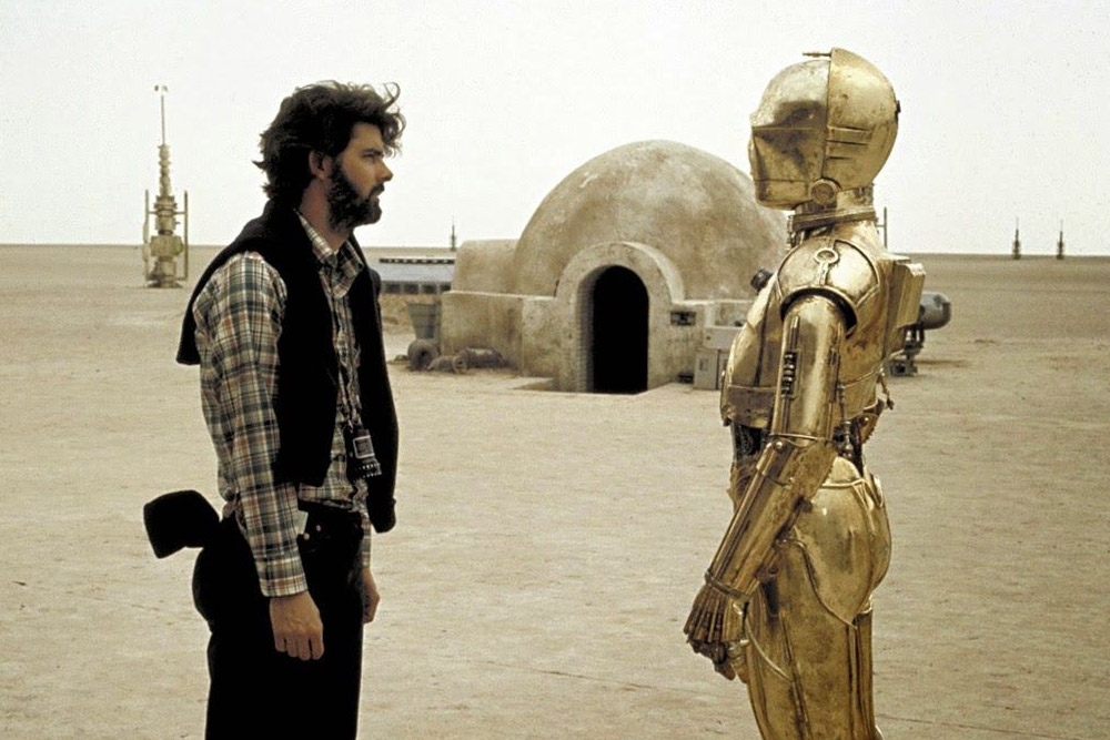 George Lucas And C-3PO In A Stare Down