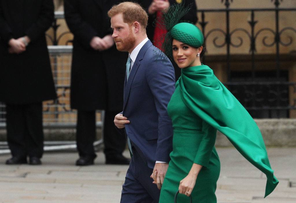 Prince Harry, Duke of Sussex (L) and Meghan, Duchess of Sussex arrive to attend the annual Commonwealth Day Service at Westminster Abbey
