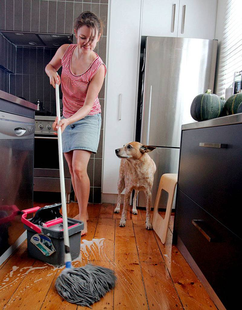 mopping kitchen