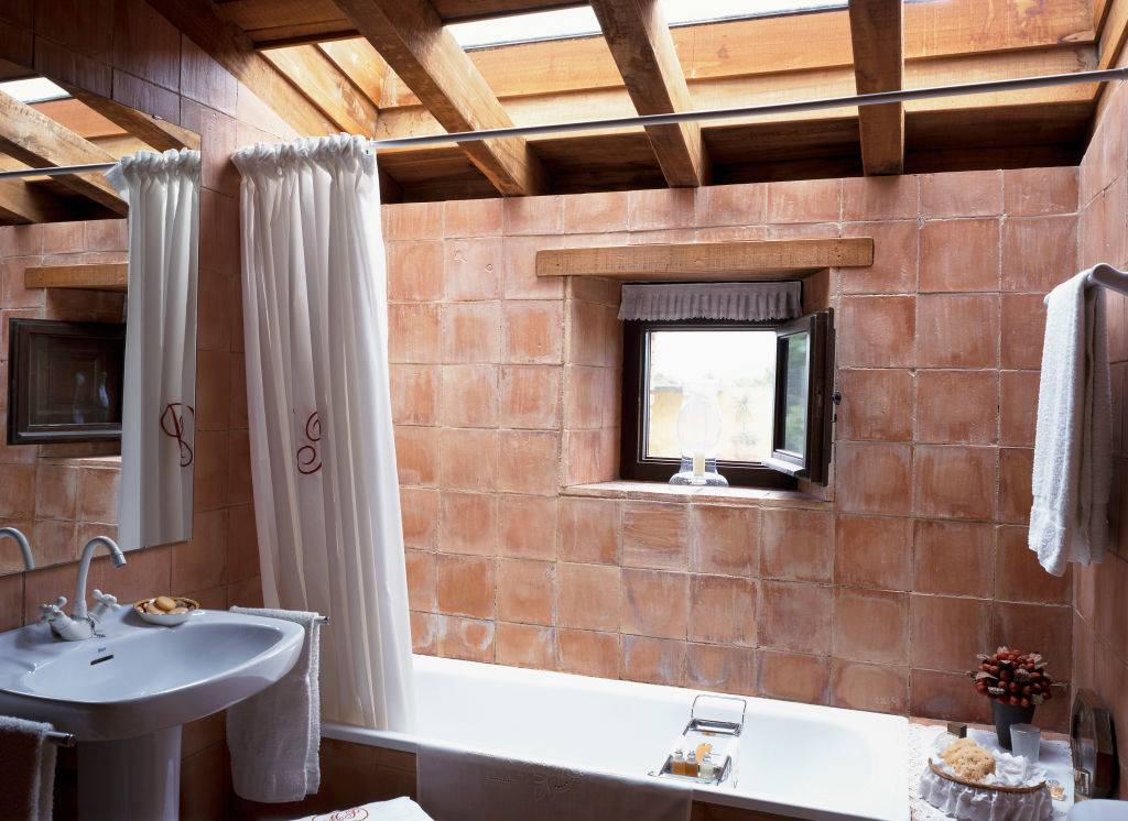 Partial view of a bathroom with a skylight.