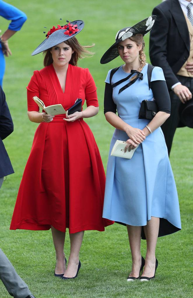 Princess Eugenie of York (left) and Princess Beatrice of York during day three of Royal Ascot at Ascot Racecourse.