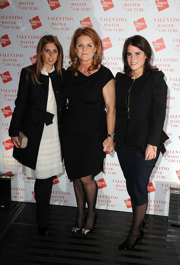 Princess Beatrice, Sarah Ferguson Duchess of York and Princess Eugenie attend the VIP view of Valentino: Master of Couture