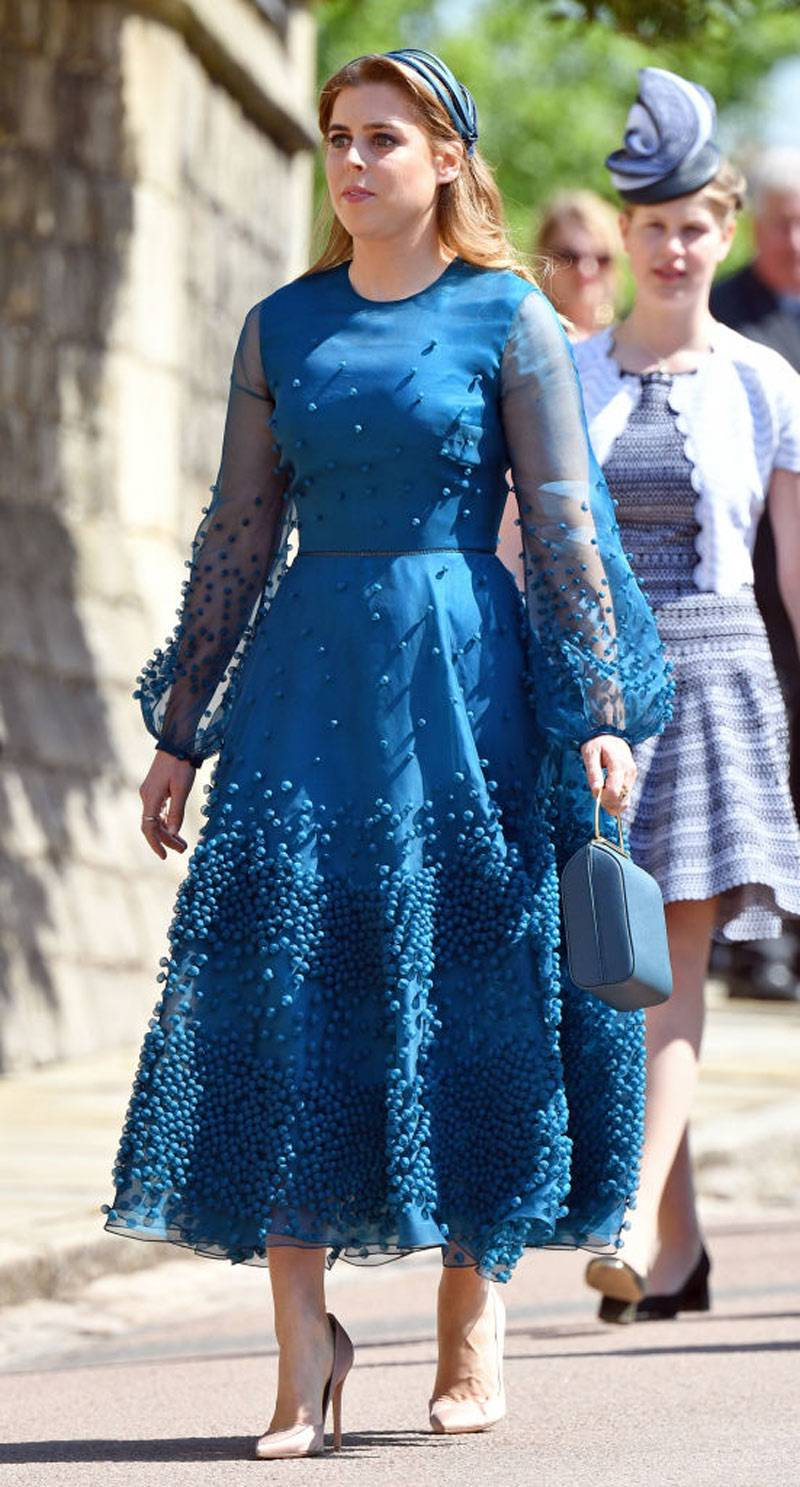 Princess Beatrice attends the wedding of Prince Harry to Ms Meghan Markle at St George's Chapel, Windsor Castle
