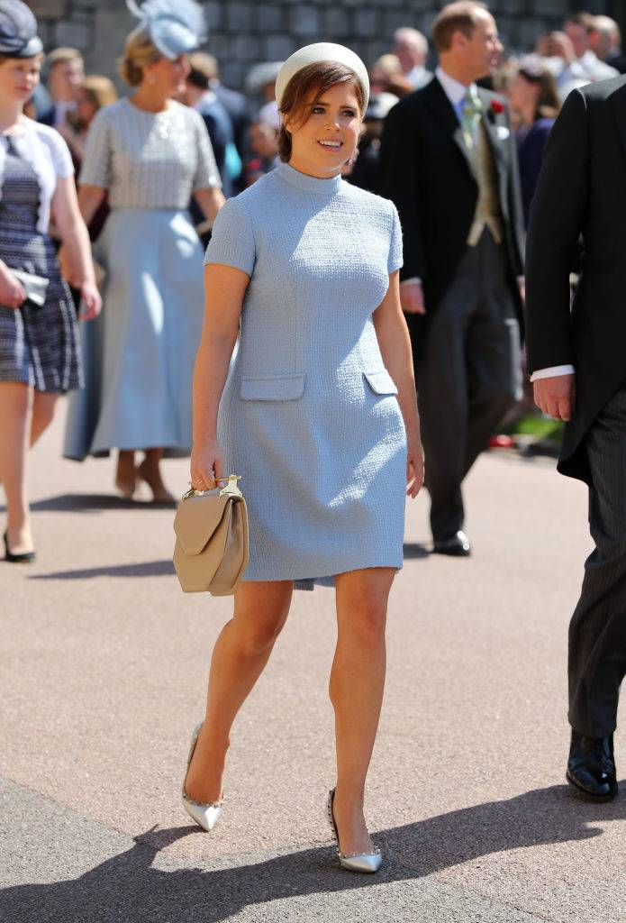 Britain's Princess Eugenie of York arrives for the wedding ceremony of Britain's Prince Harry, Duke of Sussex and US actress Meghan Markle at St George's Chapel, Windsor Castle, in Windsor, on May 19, 2018. (