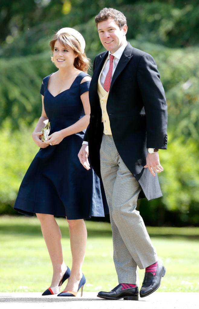 Princess Eugenie and Jack Brooksbank attend the wedding of Pippa Middleton and James Matthews at St Mark's Church on May 20, 2017