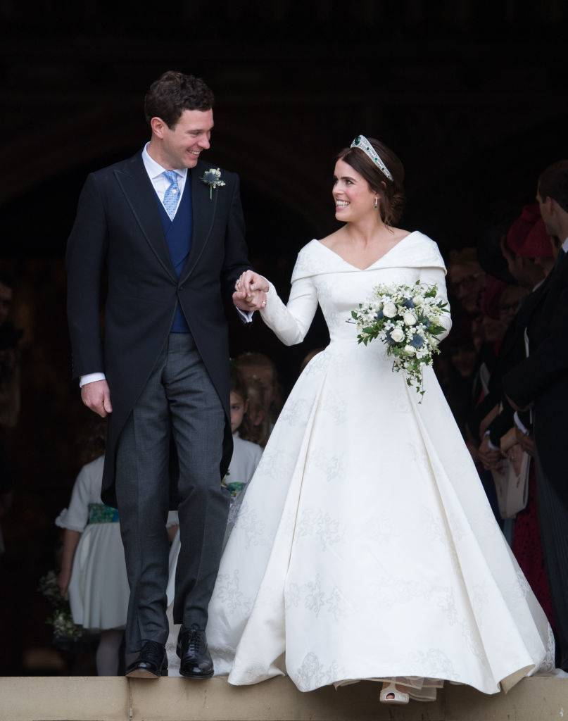 Princess Eugenie of York and Jack Brooksbank leave St George's Chapel in Windsor Castle