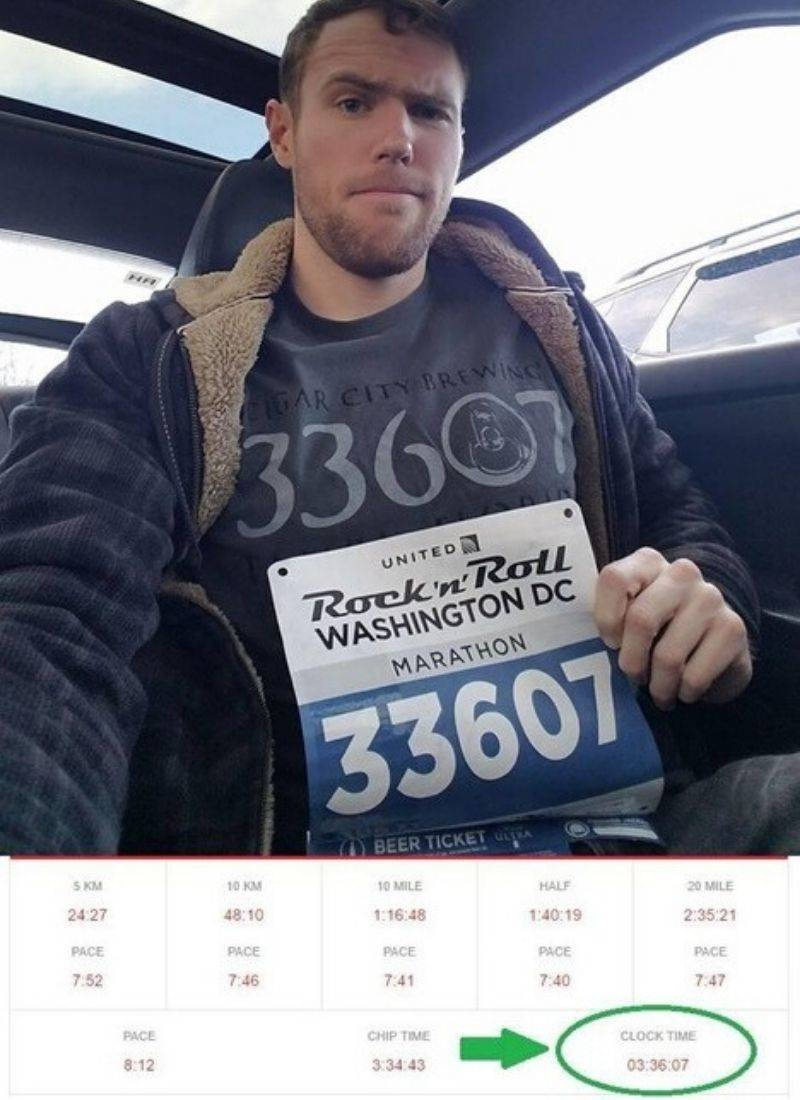 Man's tshirt, race ticket number, and run time are all 33607 (3:36:07)