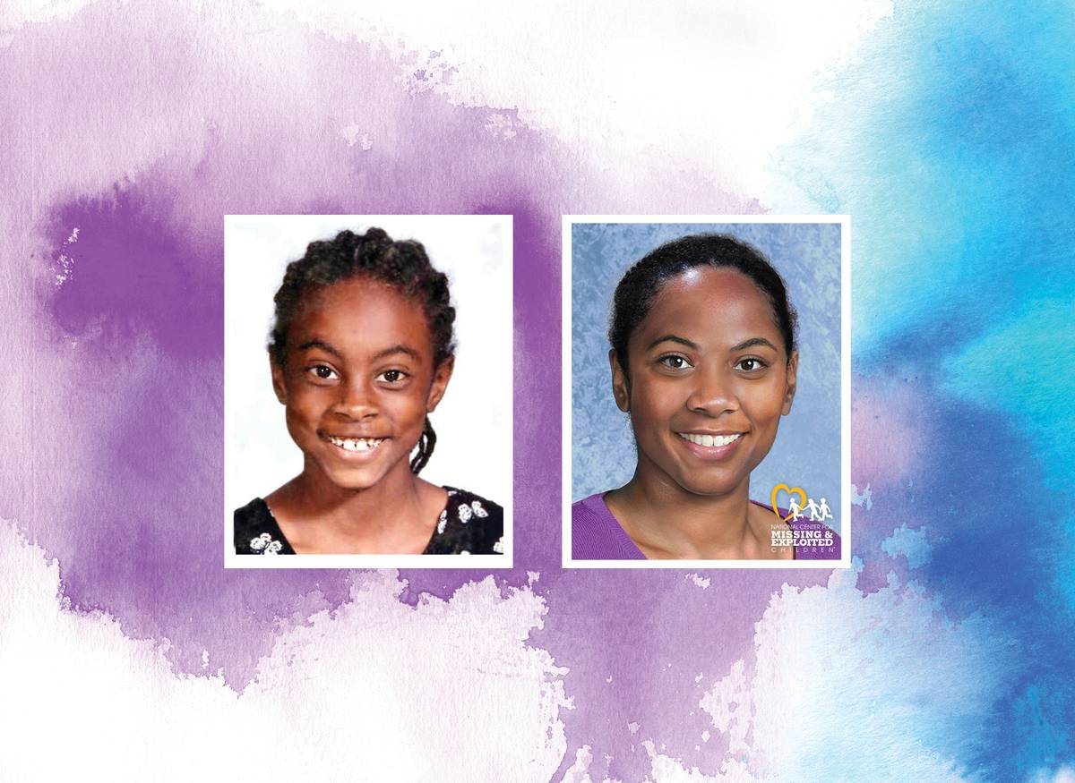The left photo shows Asha Degree at age nine; the right photo predicts what she may look like at age 30.