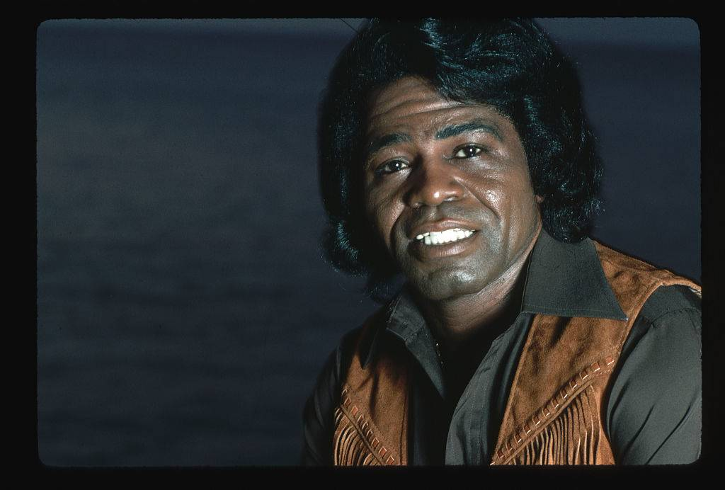 A close-up portrait of musician James Brown