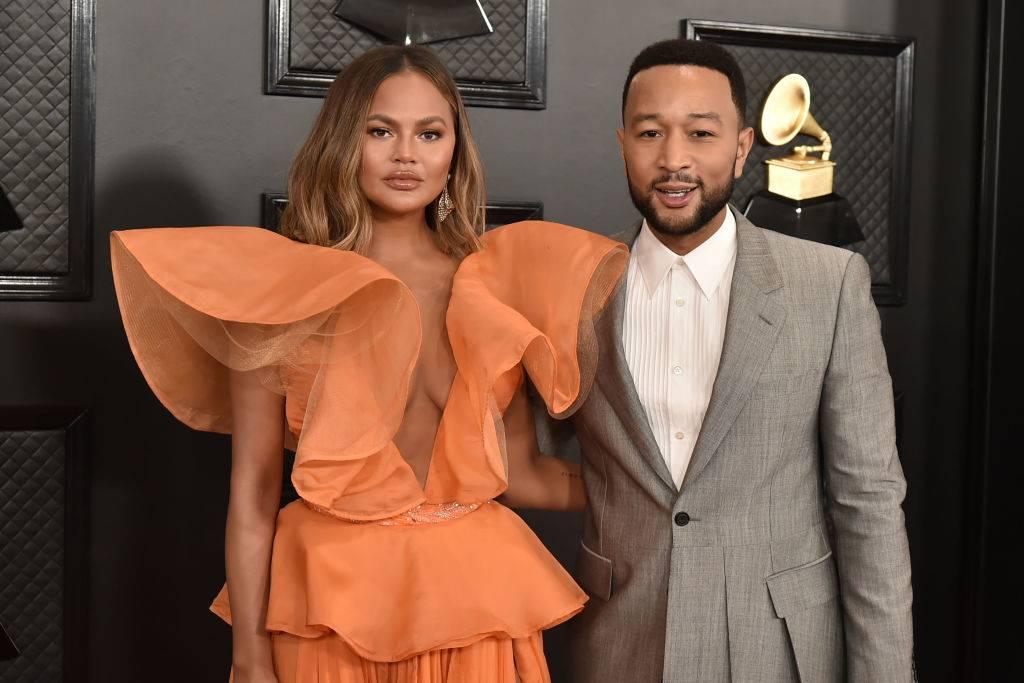Chrissy Teigen and John Legend attend the 62nd Annual Grammy Awards