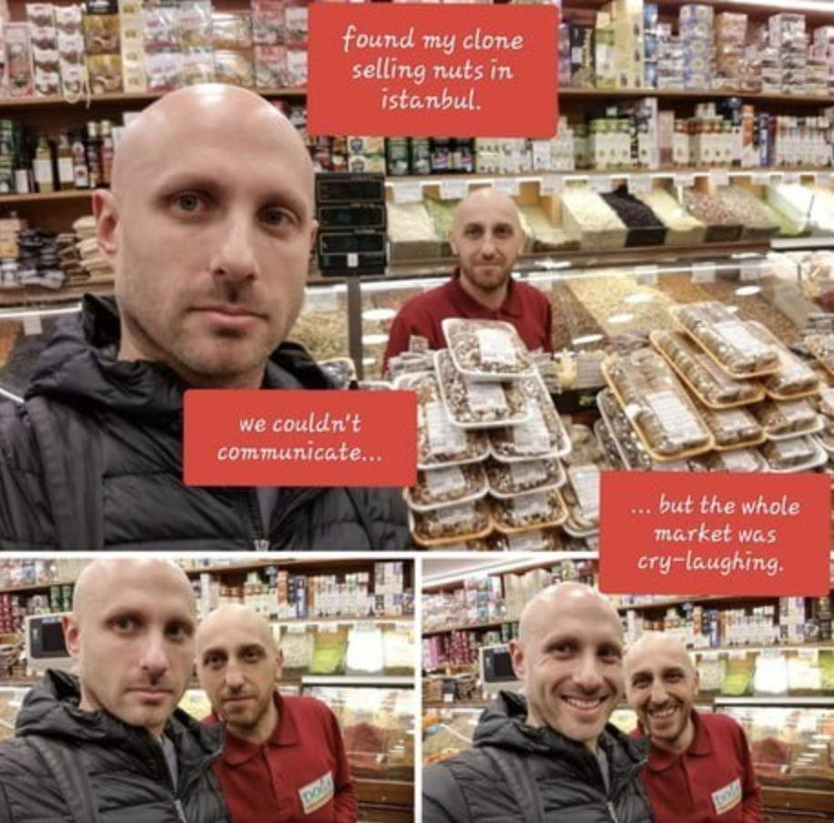 man finds his doppelganger selling nuts at an istabul market
