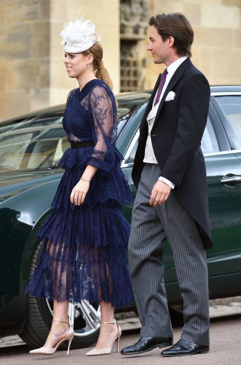 Princess Beatrice and Edoardo Mapelli Mozzi attend the wedding of Lady Gabriella Windsor and Thomas Kingston