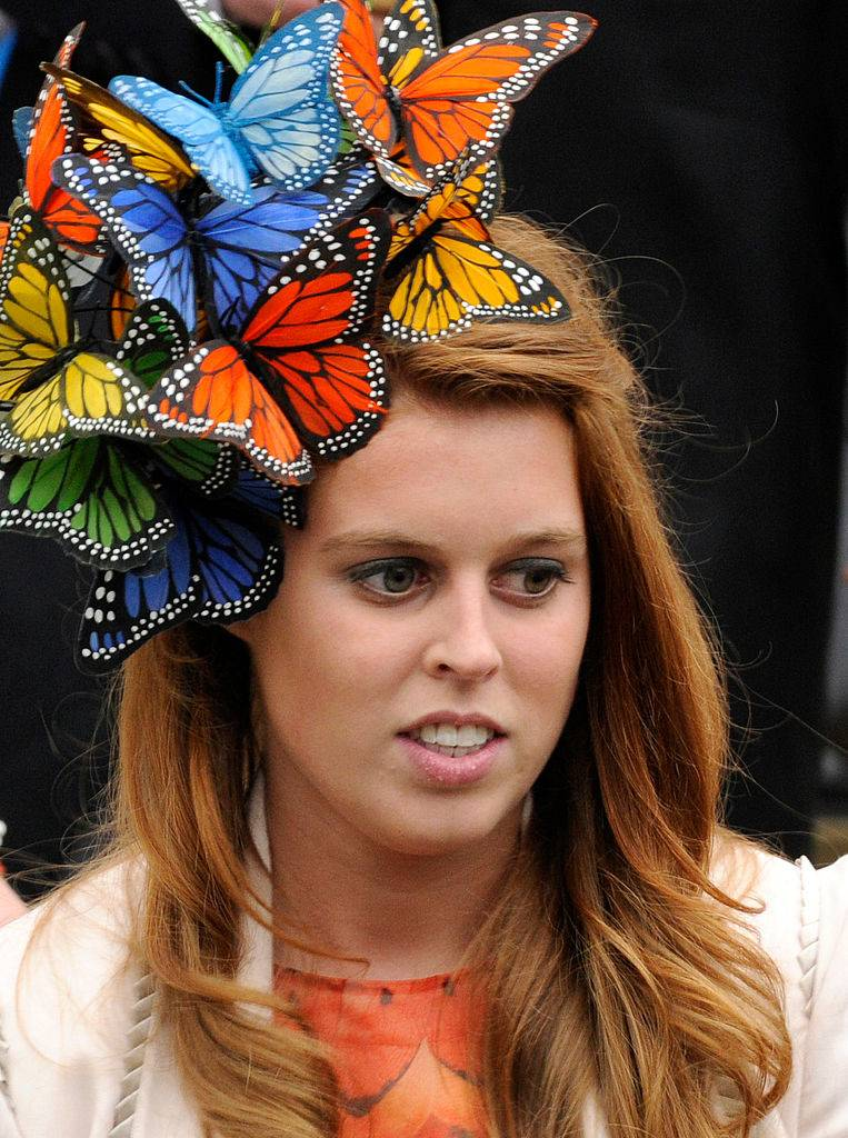 Princess Beatrice at the wedding of Peter Phillips to Autumn Kelly
