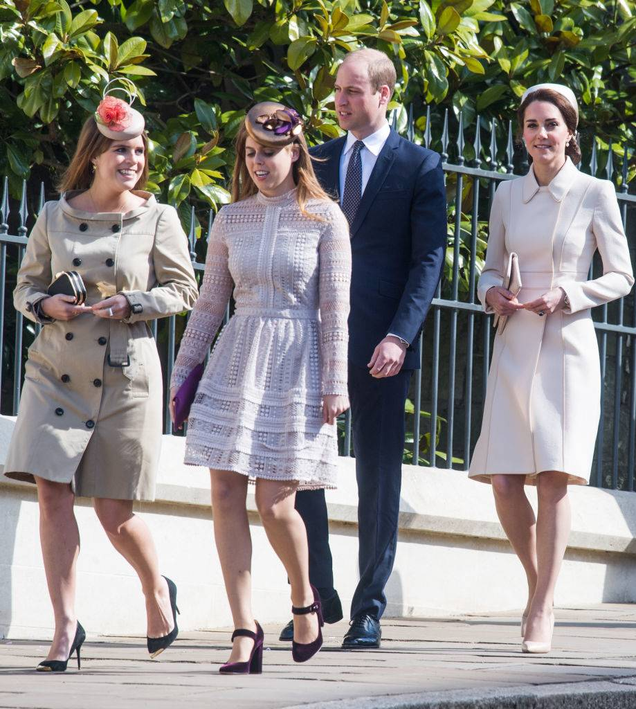Catherine, Duchess of Cambridge (R) Prince William, Duke of Cambridge, Princess Beatrice of York (2L) and Princess Eugenie of York