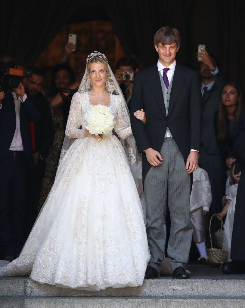 Ekaterina of Hanover and Prince Ernst August of Hanover leave after their church wedding ceremony