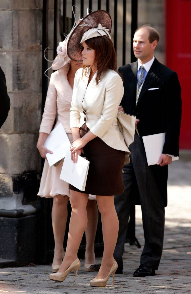 Princess Eugenie of York attends the wedding of Zara Phillips and Mike Tindall