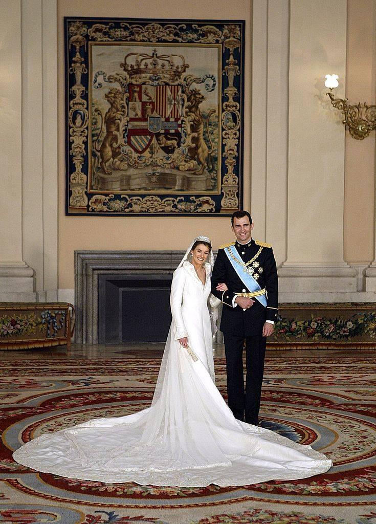 Crown Prince Felipe of Spain, Prince of Asturias, with his bride Crown Princess Letizia