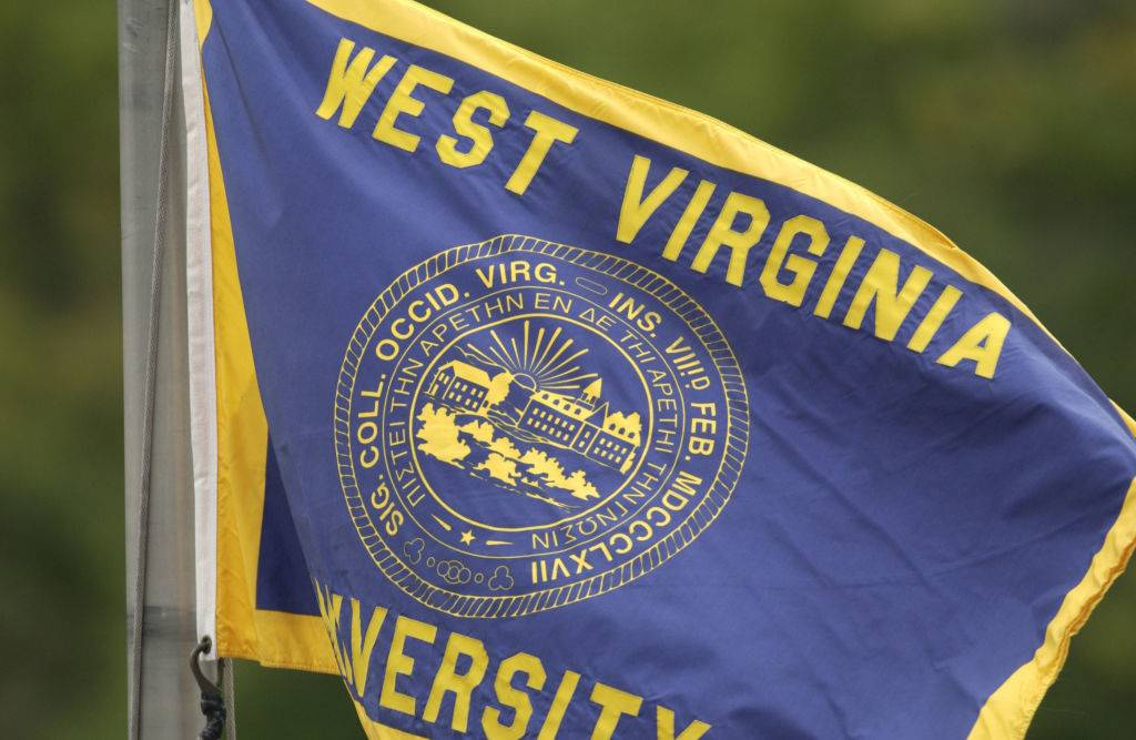 General view of the flag on the campus of the West Virginia University Mountaineers