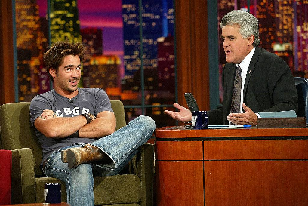 colin farrell and jay leno conversing
