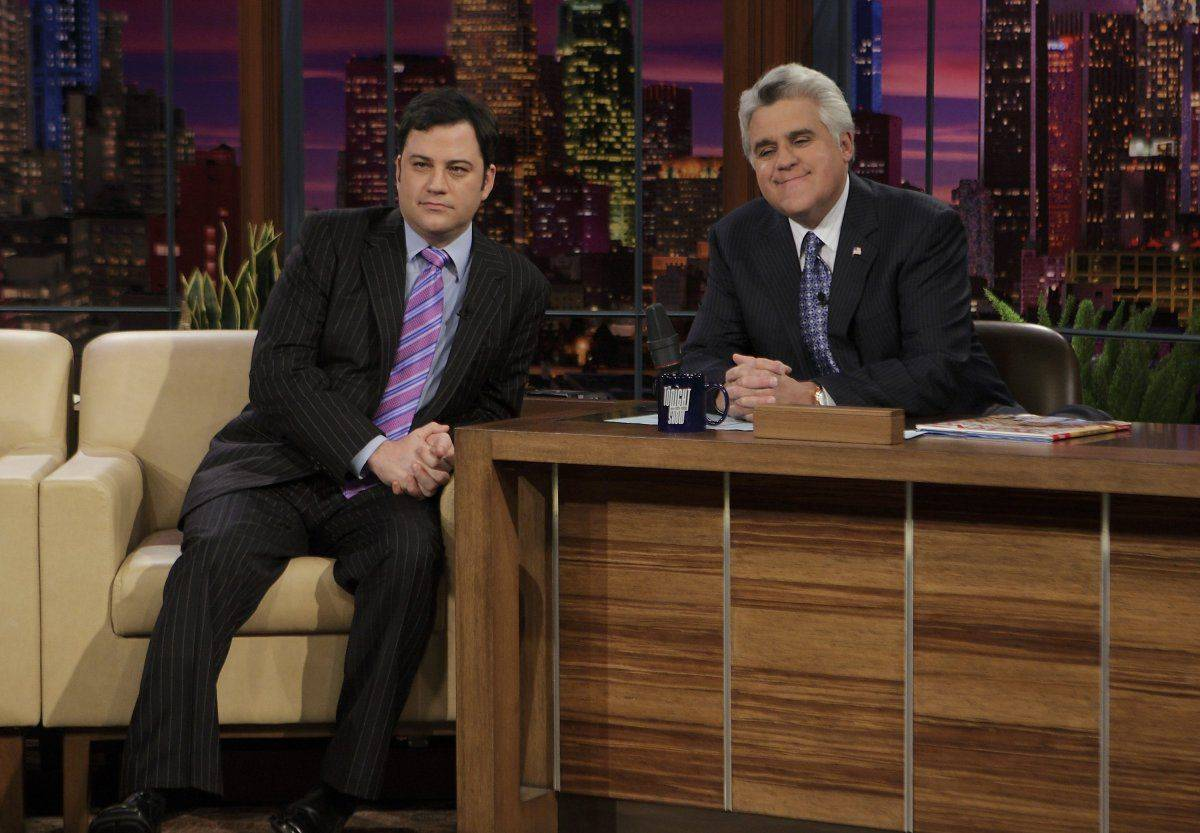 jimmy kimmel and jay leno posing for a photo
