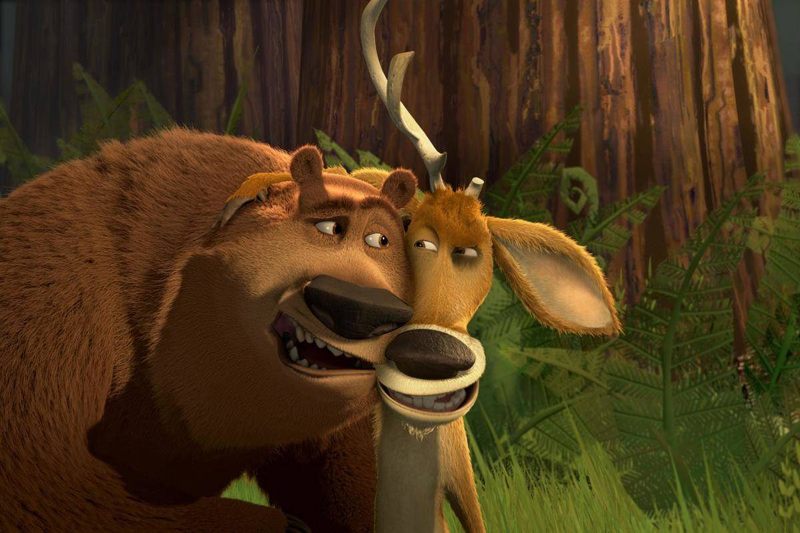 a cartoon bear and moose in open season