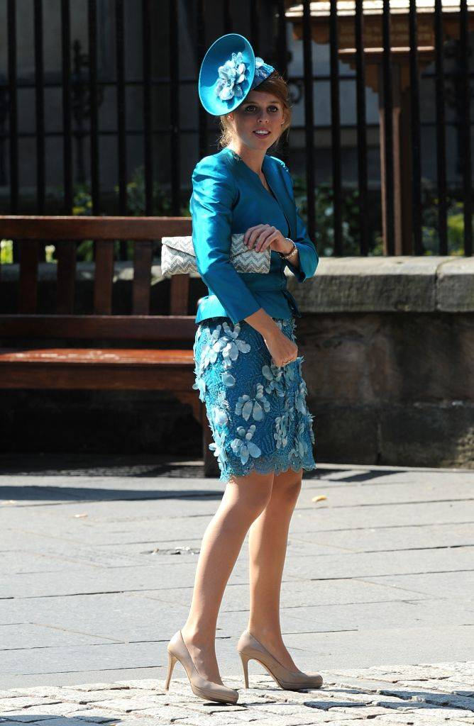 Princess Beatrice arriving for the wedding of Zara Phillips and Mike Tindall
