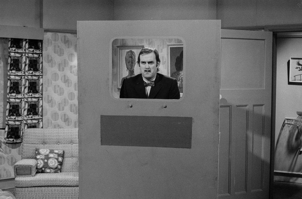 Comedian John Cleese in a sketch from the BBC television show 'Monty Python's Flying Circus'