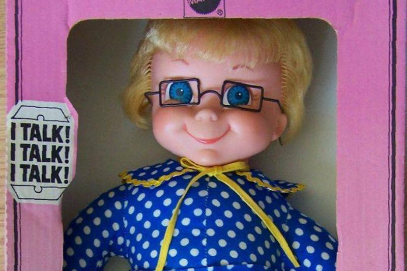 A talking Mrs. Beasley doll is sold in her packaging.