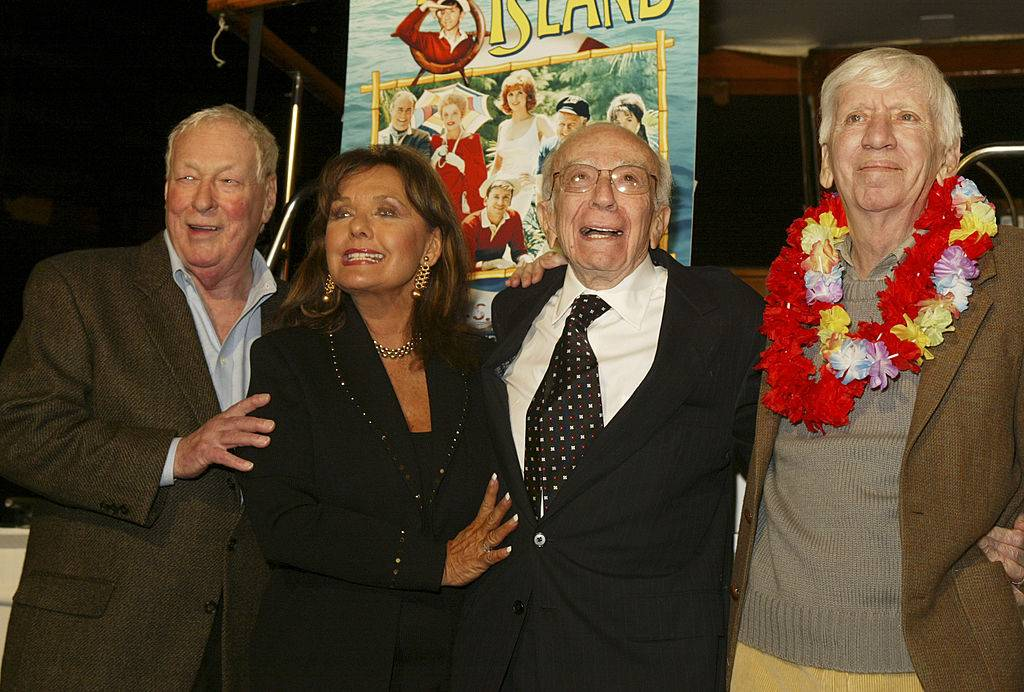 Russell Johnson, Dawn Wells, Sherwood Schwartz and Bob Denver in front of the
