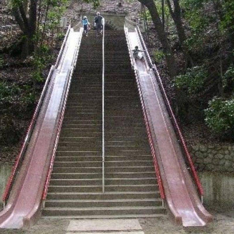 stairs with slides to the bottom
