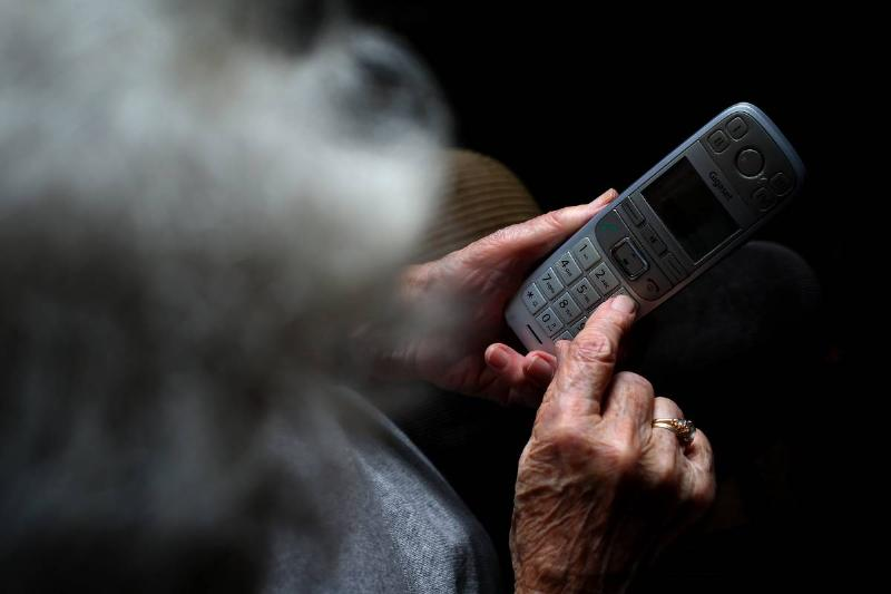 Older woman on the phone