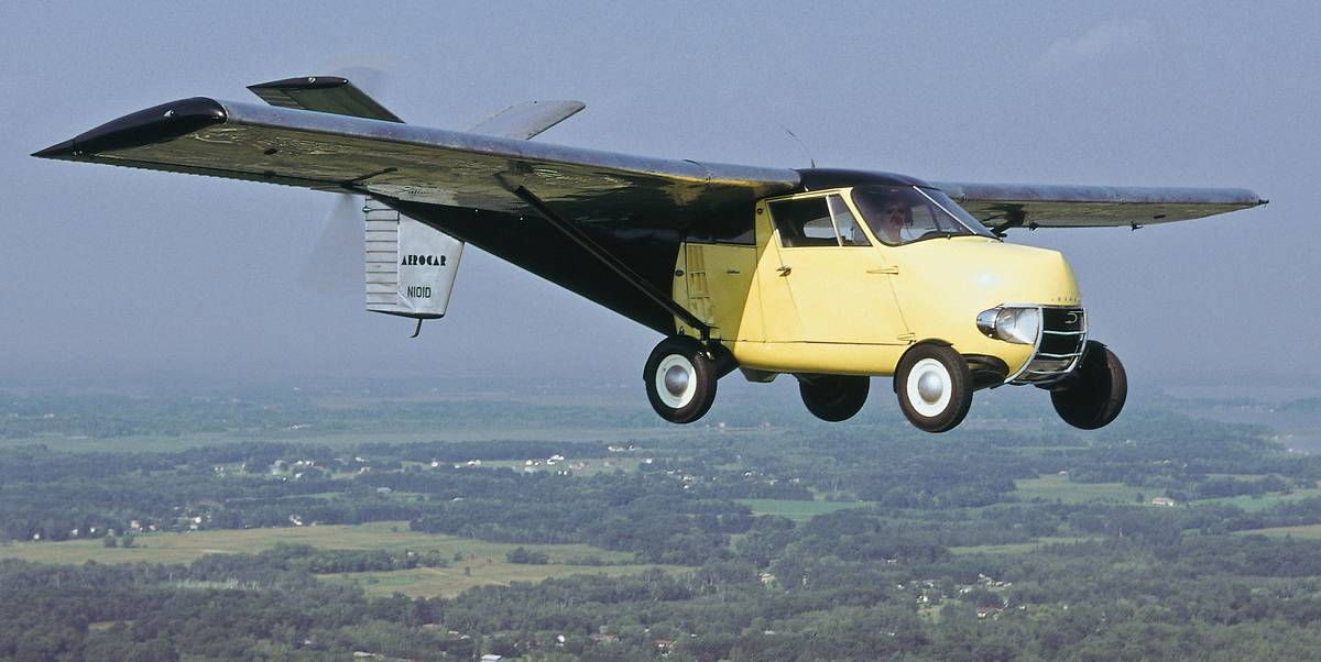 An Aerocar flies.