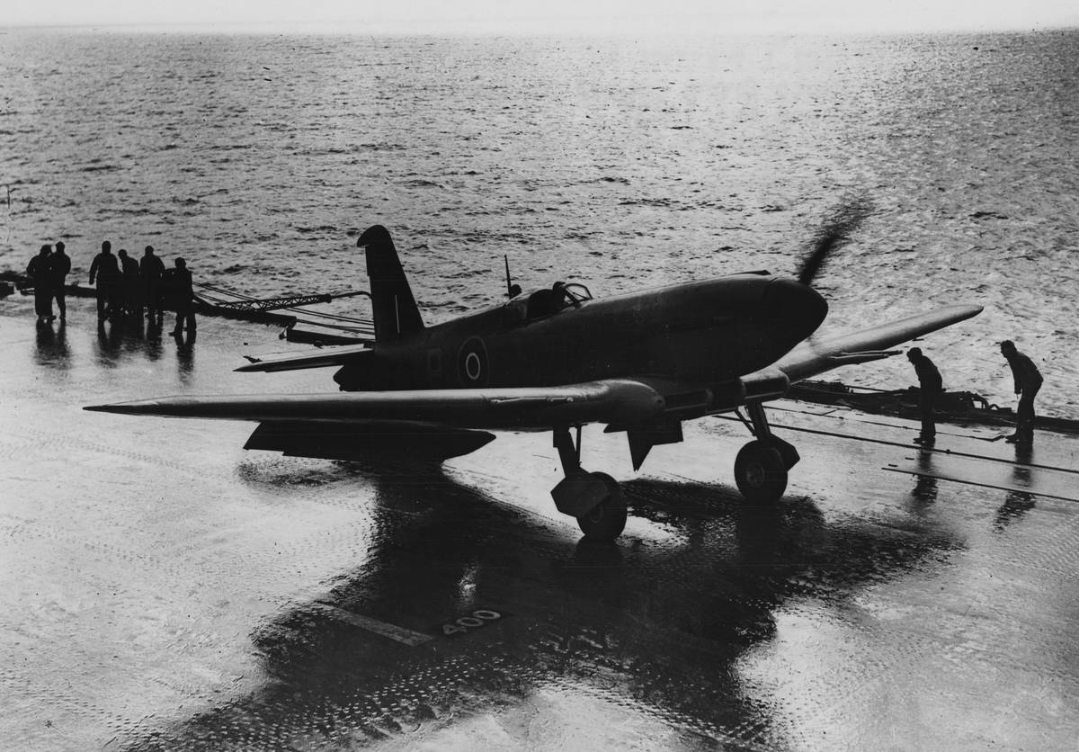 The Blackburn Firebrand is on the flight deck of a fleet.