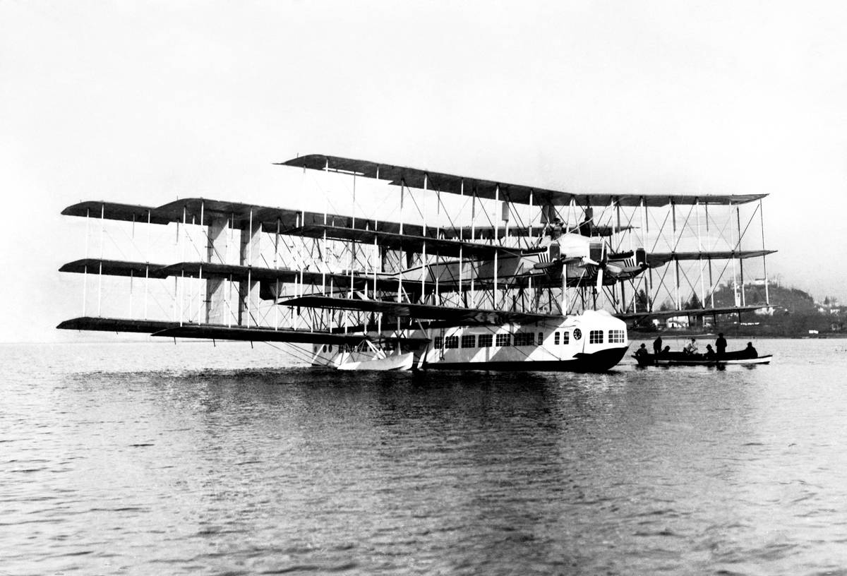 Caproni Ca.60 noviplano is a nine-wing flying boat floating on the water.