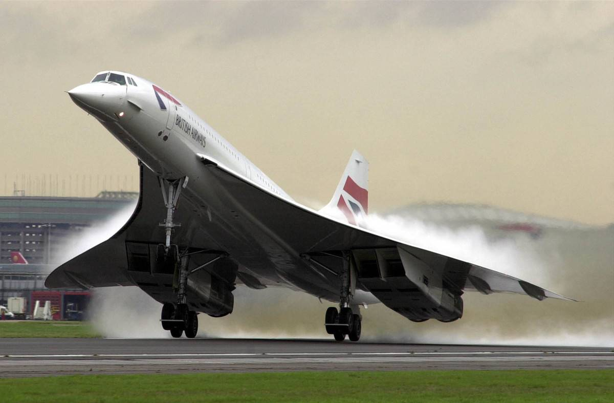 A British Airways Concorde takes off.
