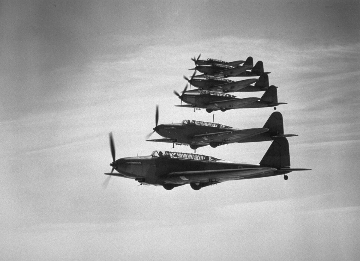 Fairey Battle bombers fly in formation.