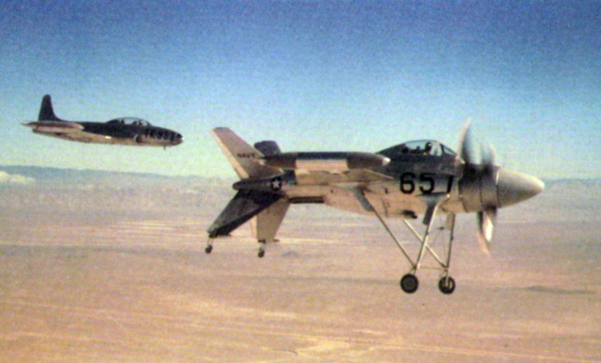 The Lockheed XFV-1 Salmon flies.
