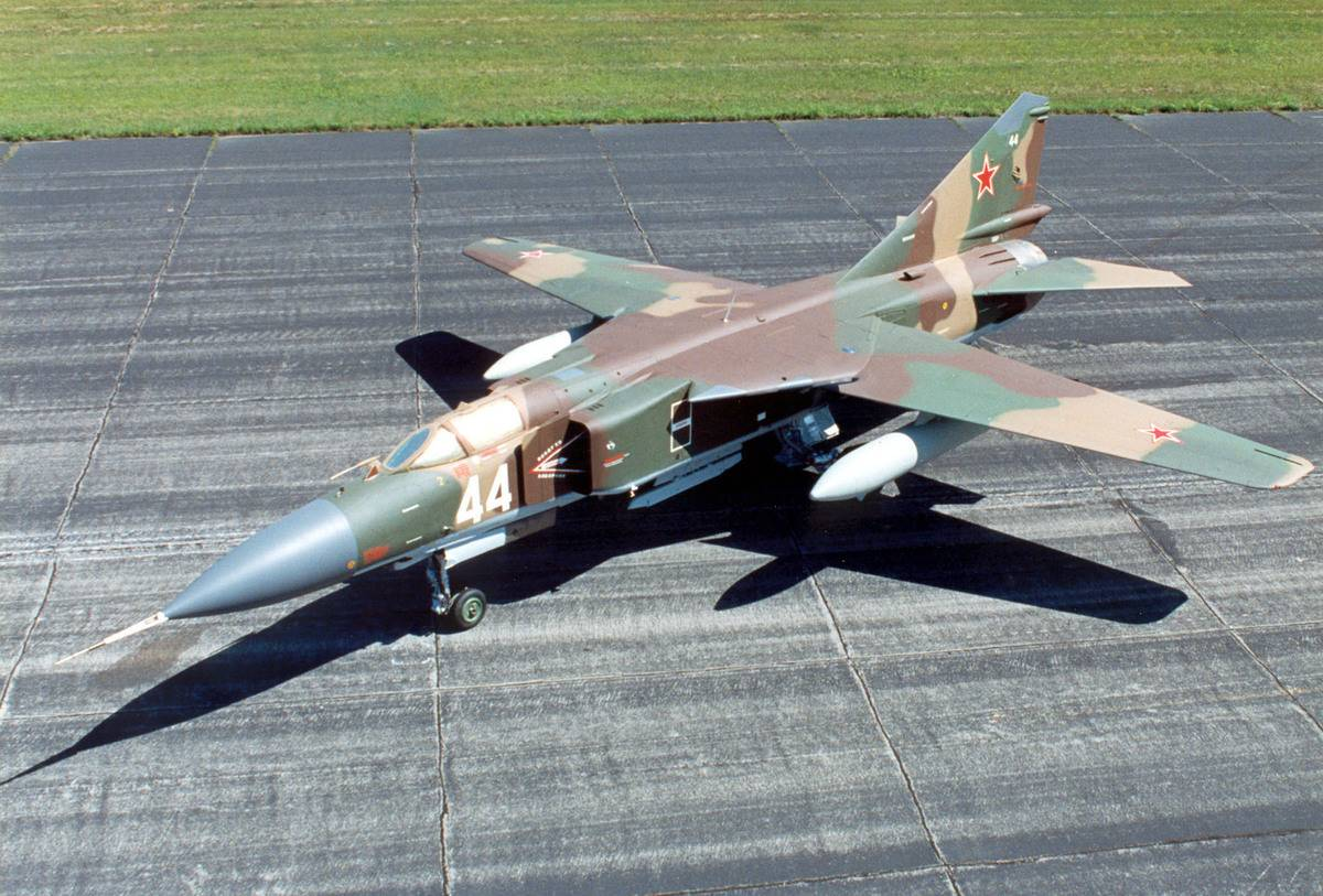 The Mikoyan-Gurevich MiG-23 is parked at a U.S. Air Force base.