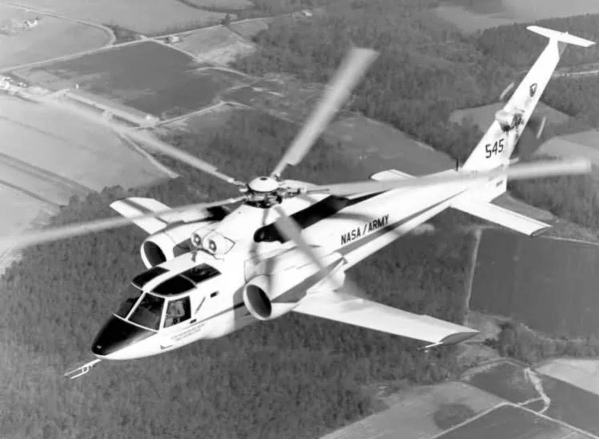 The Sikorsky S-72 flies with its propellers.