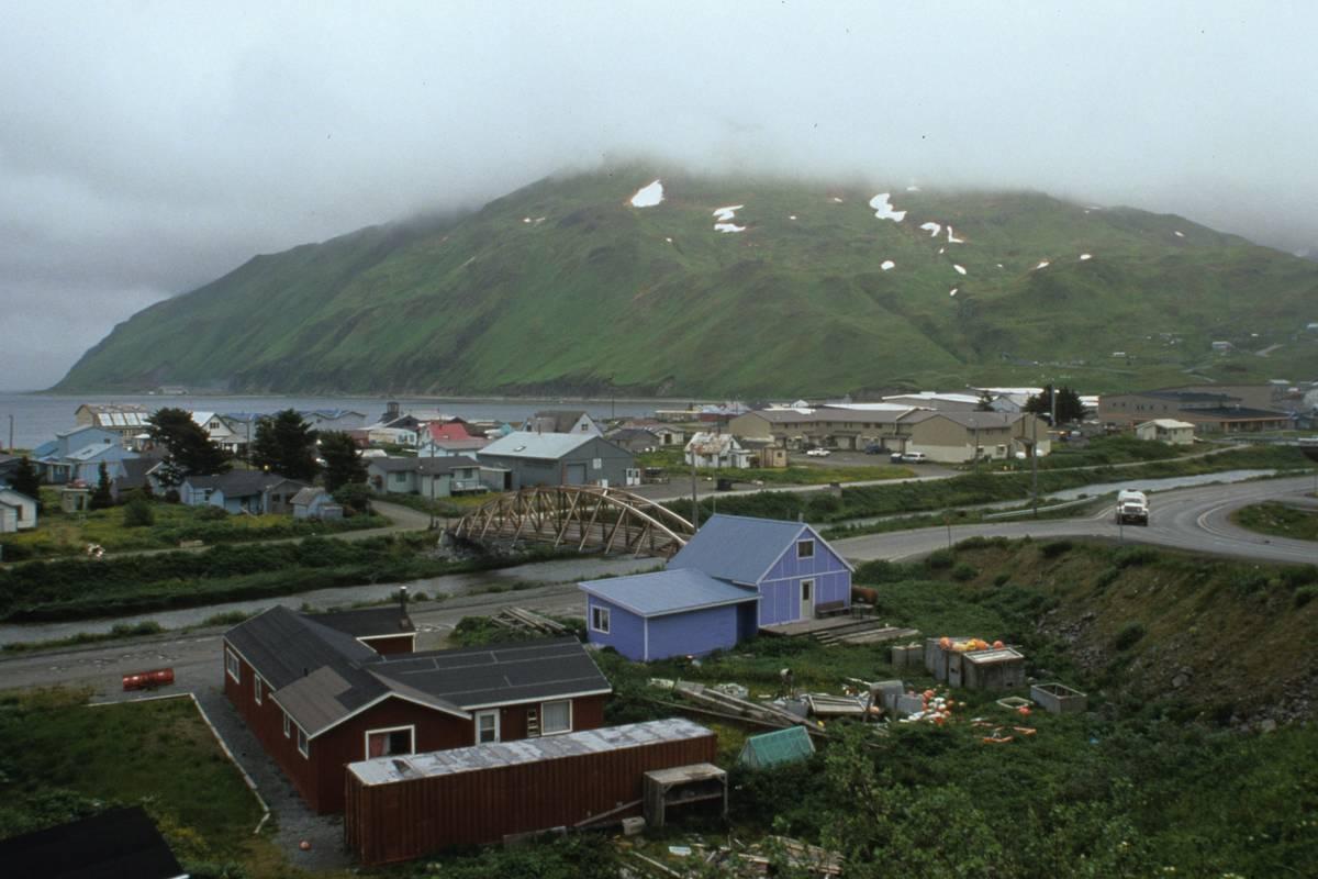 A photo shows a view of Unalaska, Alaska.