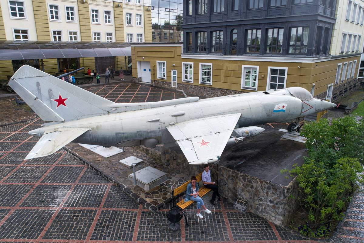 The Yakovlev Yak-38 is displayed at a Russian museum.