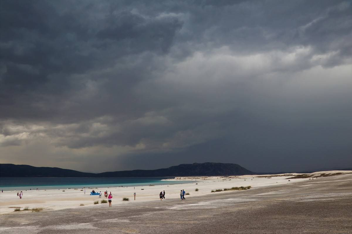 Dark rain clouds hover over Lake Salda...