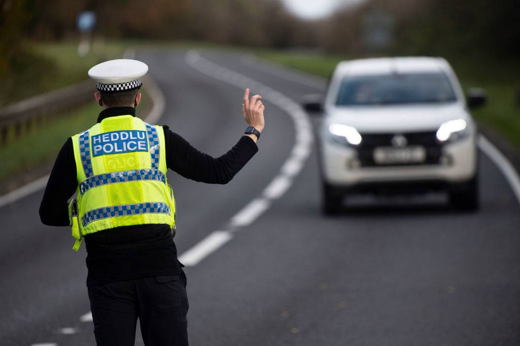 Welsh police pull over motorists at a police checkpoint
