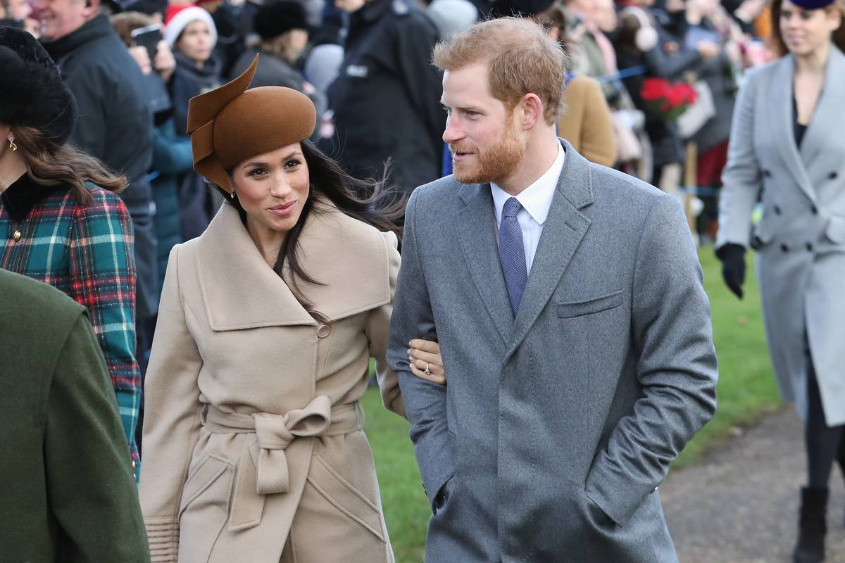 Meghan Markle and Prince Harry walk to the Christmas Day Church service in 2017.