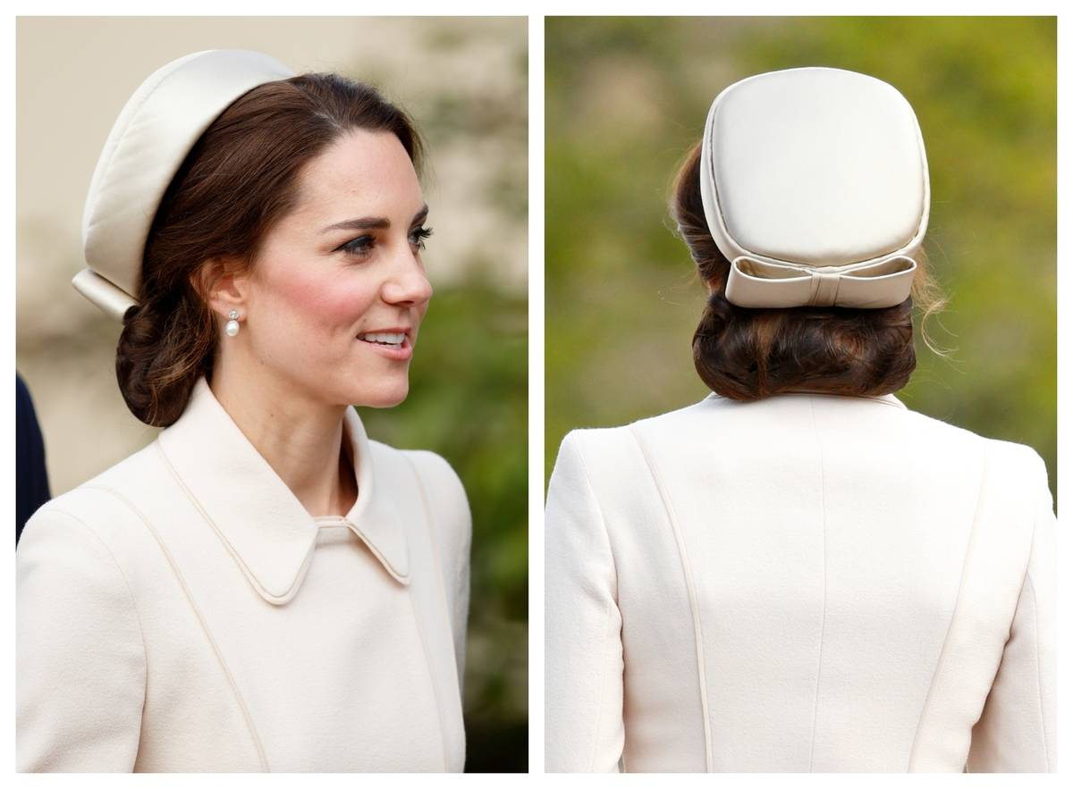 Kate Middleton wears a pillbox hat with a bow on the back during Easter Sunday service in 2017.